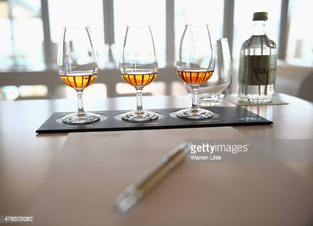 Tasting glasses are pictured as Chivas Regal launches the pinnacle of its range Chivas Regal The Icon at The One Only Royal Mirage on June 9 2015 in...