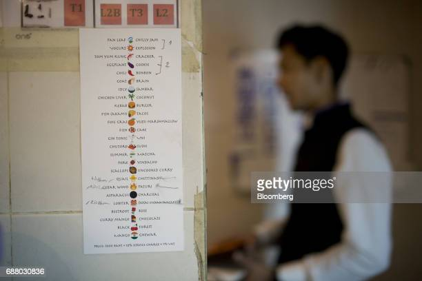 A tasting menu featuring translated emoji hangs on a wall inside the kitchen at Gaggan restaurant in Bangkok Thailand on Friday May 5 2017 After his...