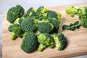 tasty broccoli on a wooden board