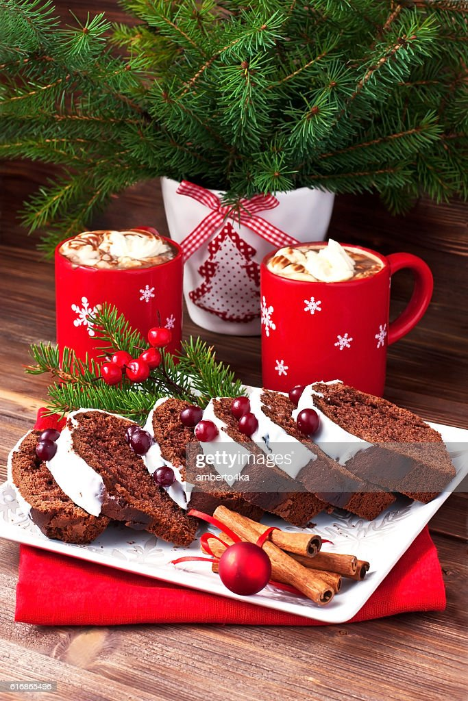 Tasty cake with hot chocolate drink : Stock Photo