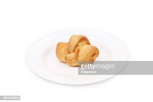 Leckeren croissant auf den Teller. : Stock-Foto