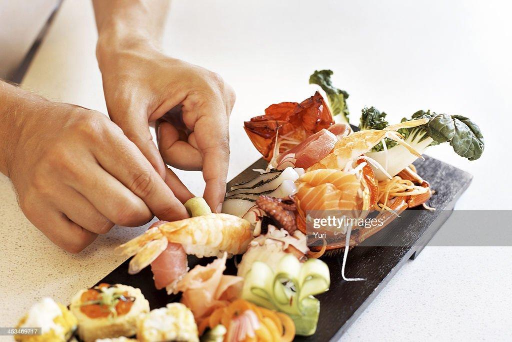 Tasty japanese cuisine served at restaurant : Stock Photo