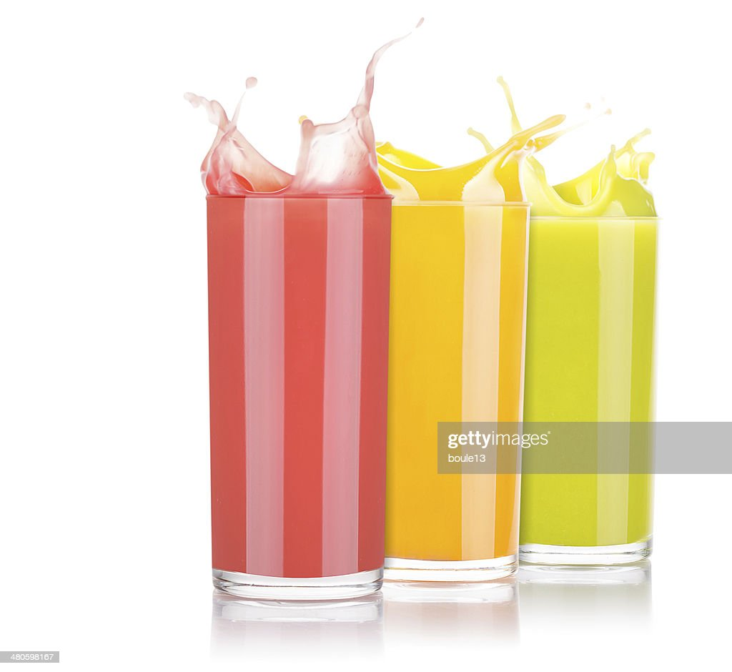 tasty summer fruit drinks in glass with splash : Stock Photo