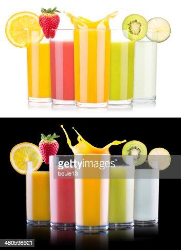 tasty summer fruit drinks in glass with splash : Stock Photo