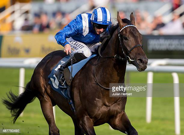 Tasweeq ridden by Paul Hanagan leads the field home to win The Weatherbys Stallion Book Flying Scotsman Stakes Race run at Doncaster Racecourse on...