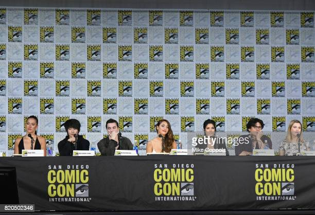 Tasya Teles Christopher Larkin Richard Harmon Lindsey Morgan Marie Avgeropoulos Bob Morley and Eliza Taylor speak onstage at ComicCon International...