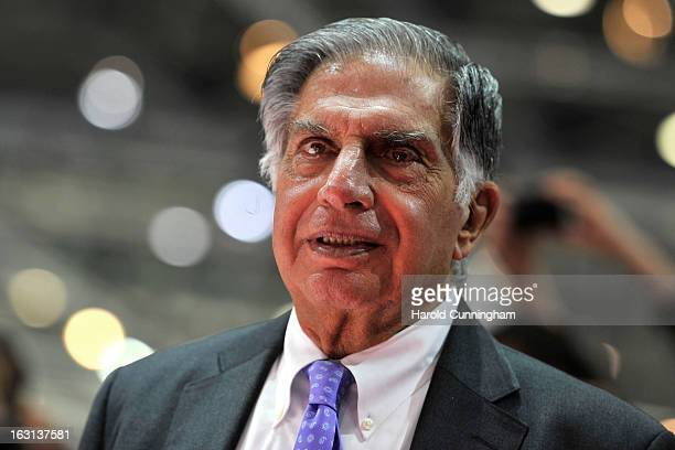 Tata Group Chairman Ratan Tata looks on during the 83rd Geneva Motor Show on March 5 2013 in Geneva Switzerland Held annually the Geneva Motor Show...