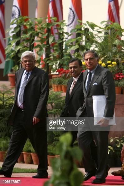 Tata Group chairman Ratan Tata RIL Chairman Mukesh Ambani and HDFC Chairman Deepakh Parekh arrive to attend the joint press conference of US...