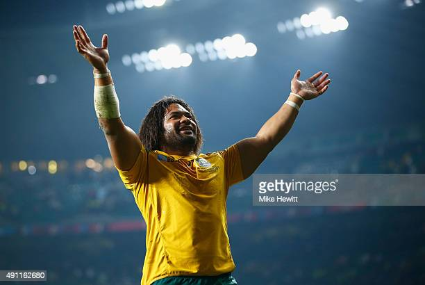 Tatafu PolotaNau of Australia celebrates victory during the 2015 Rugby World Cup Pool A match between England and Australia at Twickenham Stadium on...