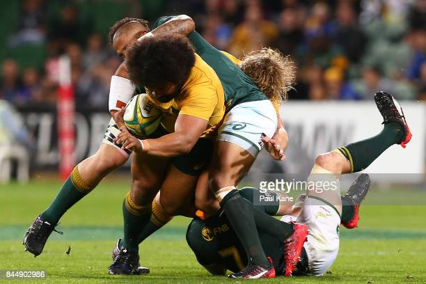 Tatafu PolotaNau of Australia runs the ball during The Rugby Championship match between the Australian Wallabies and the South Africa Springboks at...