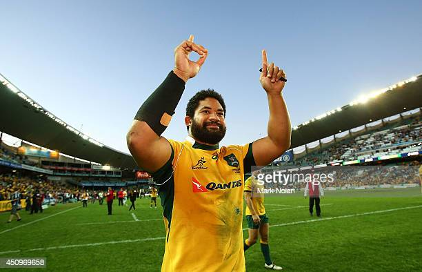 Tatafu PolotaNau of the Wallabies celebrates after the International Test match between the Australia Wallabies and France at Allianz Stadium on June...