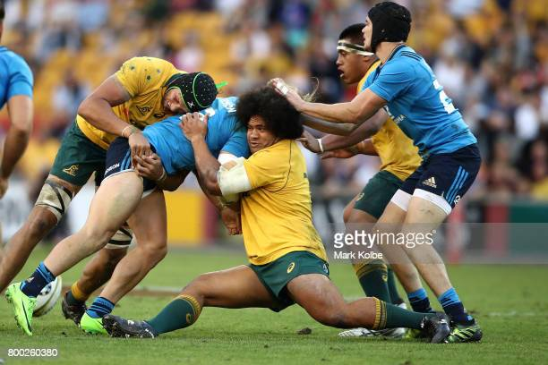 Tatafu PolotaNau of the Wallabies tackles Michele Campagnaro of Italy during the International Test match between the Australian Wallabies and Italy...