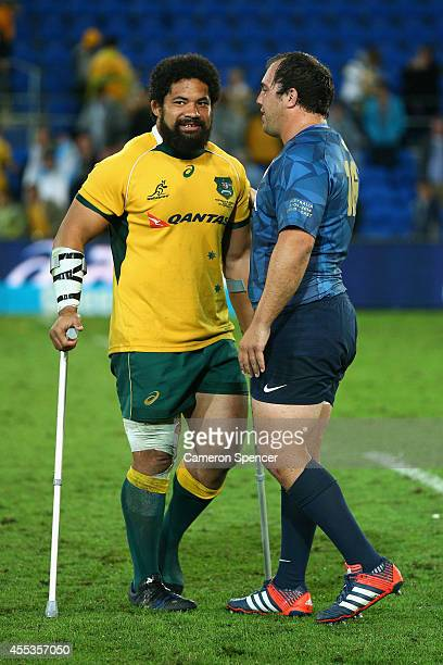 Tatafu PolotaNau of the Wallabies talks to Matias Cortes of Argentina following The Rugby Championship match between the Australian Wallabies and...