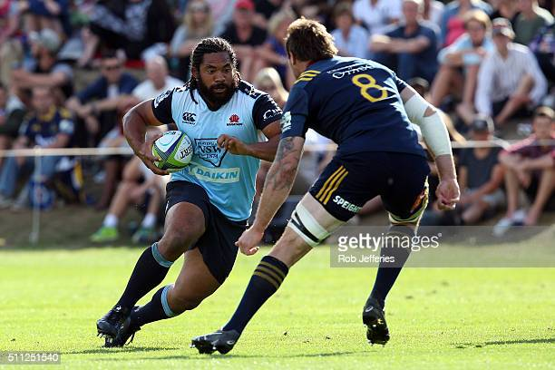 Tatafu PolotaNau of the Waratahs on the charge during the Super Rugby trial match between the Highlanders and the Waratahs at the Queenstown...