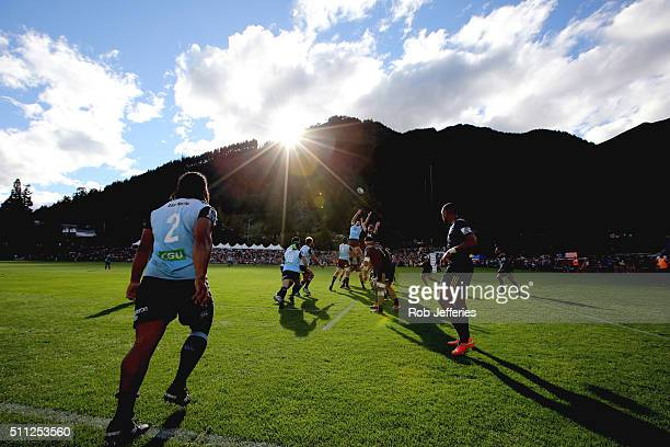 Tatafu PolotaNau of the Waratahs throws in the ball during the Super Rugby trial match between the Highlanders and the Waratahs at the Queenstown...