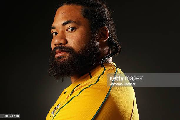 Tatafu PolotaNau poses during an Australian Wallabies portrait session at Crowne Plaza Coogee on May 30 2012 in Sydney Australia