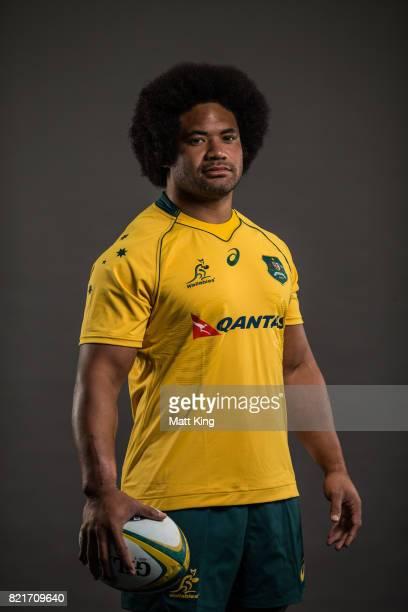 Tatafu PolotaNau poses for a headshot during the Australian Wallabies Player Camp at the AIS on April 11 2017 in Canberra Australia