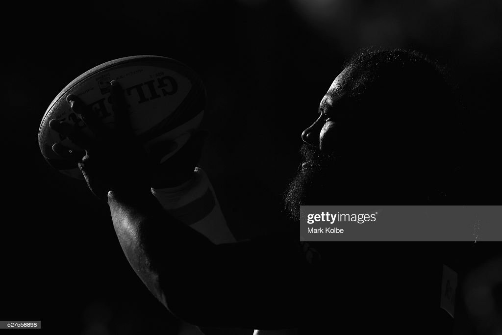 Tatafu Polota-Nau prepares to throw a ball into the lineout during a Waratahs Super Rugby training session at Kippax Lake on May 3, 2016 in Sydney, Australia.