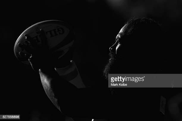 Tatafu PolotaNau prepares to throw a ball into the lineout during a Waratahs Super Rugby training session at Kippax Lake on May 3 2016 in Sydney...