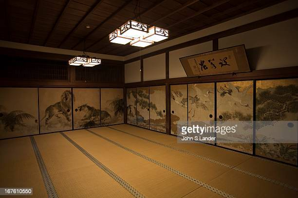 Tatami room and decorative 'shoji' or paper doors at Ekoin Temple in Koyasan There are temples and shrines that have accommodation facilities called...