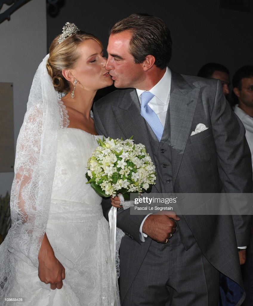 Tatania Blatnik and Prince Nikolaos of Greece kiss each other outside the Cathedral of Ayios Nikolaos (St. Nicholas) after getting married on August 25, 2010 in Spetses, Greece. Representatives from Europe�s royal families have joined the many guests who have travelled to the island to attend the wedding of Prince Nikolaos of Greece, the second son of King Constantine of Greece and Queen Anne-Marie of Greece and Tatiana Blatnik an events planner for Diane Von Furstenburg in London.