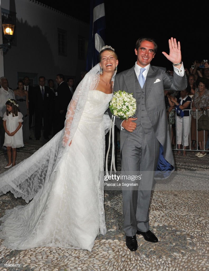 Tatania Blatnik (L) and Prince Nikolaos of Greece walk outside the Cathedral of Ayios Nikolaos (St. Nicholas) after their wedding ceremony on August 25, 2010 in Spetses, Greece. Representatives from Europe�s royal families have joined the many guests who have travelled to the island to attend the wedding of Prince Nikolaos of Greece, the second son of King Constantine of Greece and Queen Anne-Marie of Greece and Tatiana Blatnik an events planner for Diane Von Furstenburg in London.