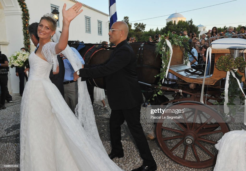 Tatania Blatnik arrives at the Cathedral of Ayios Nikolaos (St. Nicholas) for her wedding to Prince Nikolaos of Greece on August 25, 2010 in Spetses, Greece. Representatives from Europe�s royal families have joined the many guests who have travelled to the island to attend the wedding of Prince Nikolaos of Greece, the second son of King Constantine of Greece and Queen Anne-Marie of Greece and Tatiana Blatnik an events planner for Diane Von Furstenburg in London.