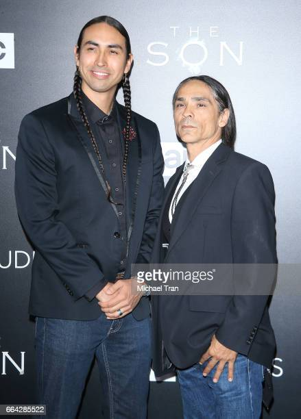 Tatanka Means and Zahn McClarnon arrive at the Los Angeles premiere of AMC's 'The Son' held at ArcLight Hollywood on April 3 2017 in Hollywood...