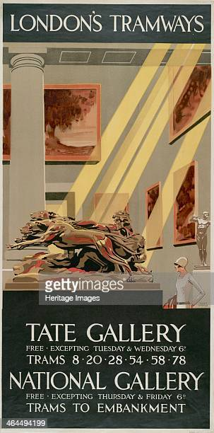 'Tate Gallery National Gallery' London County Council Tramways poster 1927 showing an interior view of one of the galleries with sculpture and...
