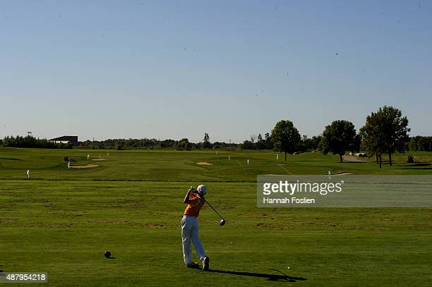 Tate Herrenbruck competes in the drive at a Regional Finals for 1213 year old boys at the Drive Chip and Putt competition on September 12 2015 at...