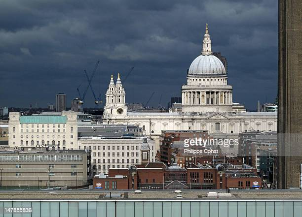Tate modern and St paul's cathedral, London.