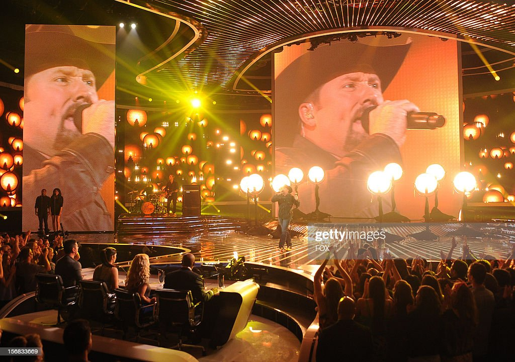 Tate Stevens onstage at FOX's 'The X Factor' Season 2 Top 10 Live Performance Show on November 21, 2012 in Hollywood, California.