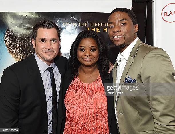 Tate Taylor Octavia Spencer and Chadwick Boseman attend the Get On Up premiere at Regal CinemasAtlantic Station on July 25 2014 in Atlanta Georgia