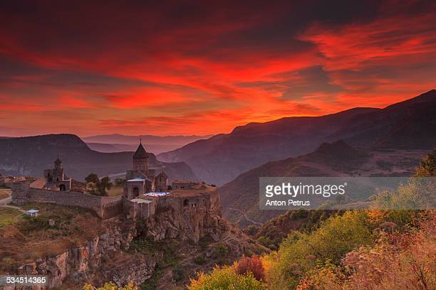 Tatev monastery in the mountains at dawn