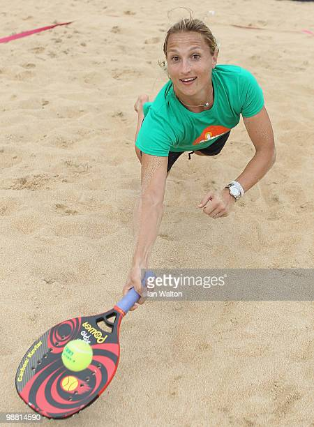 Tathiana Garbin of Italy playes some beach tennis during Day one of the Sony Ericsson WTA Tour at the Foro Italico Tennis Centre on May 3 2010 in...