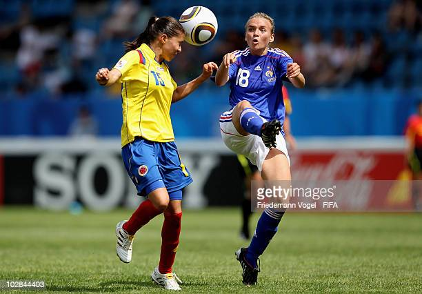 Tatiana Ariza of Colombia battles for the ball with Marion Torrent of France the FIFA U20 Women's World Cup Group A match between Colombia and France...