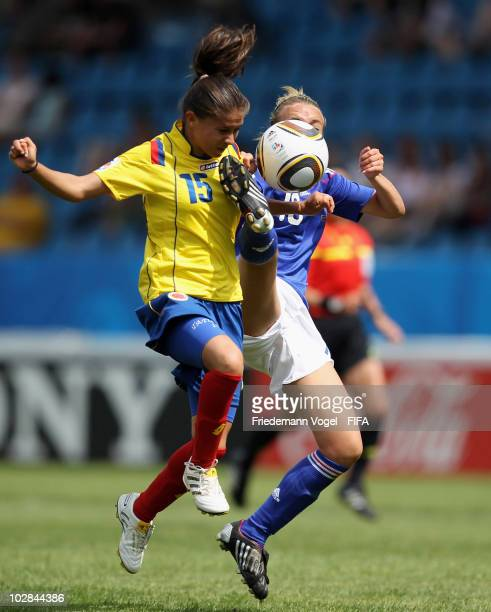Tatiana Ariza of Colombia jumps for a header with Marion Torrent of France during the FIFA U20 Women's World Cup Group A match between Colombia and...