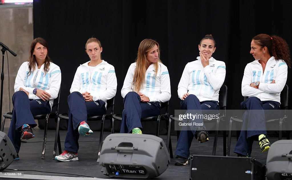 Tatiana Bau of Argentina Nadia Podoroska of Argentina Maria Irigoyen of Argentina <a gi-track='captionPersonalityLinkClicked' href=/galleries/search?phrase=Paula+Ormaechea&family=editorial&specificpeople=8801820 ng-click='$event.stopPropagation()'>Paula Ormaechea</a> of Argentina Maria Jose Gaidano coach of Argentina during the official draw ceremony prior to a match between Argentina and Spain as part of World Group II Play-off of Fed Cup 2015 at Tecnopolis on April 17, 2015 in Villa Martelli, Buenos Aires, Argentina. The match will decide who gets to maintain their position in the group.