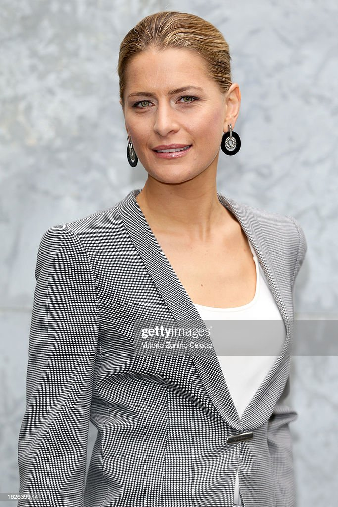 Tatiana Blatnik attends the Giorgio Armani fashion show as part of Milan Fashion Week Womenswear Fall/Winter 2013/14 on February 25, 2014 in Milan, Italy.