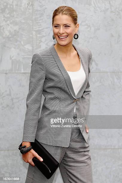 Tatiana Blatnik attends the Giorgio Armani fashion show as part of Milan Fashion Week Womenswear Fall/Winter 2013/14 on February 25 2014 in Milan...
