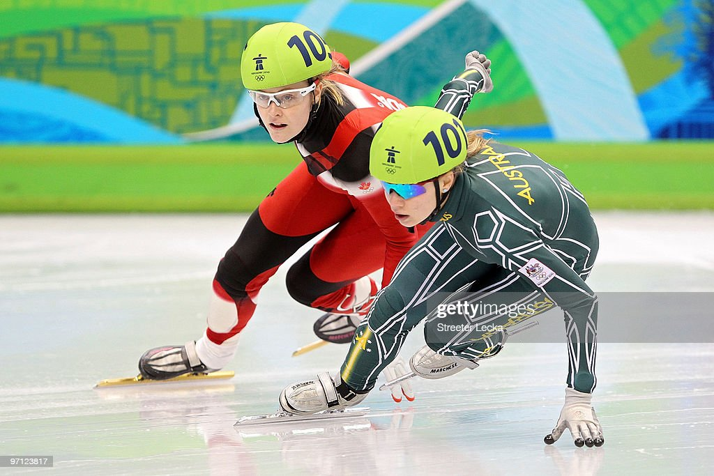 Tatiana Borodulina of Australia leads from Jessica Gregg of Canada in the Ladies' 1000m Short Track Speed Skating SemiFinals on day 15 of the 2010...