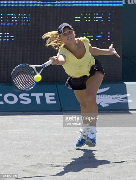 Tatiana Golovin of France in action against Shuai Peng of China during round three play at the Family Circle Cup on April 12 2007 at the Family...
