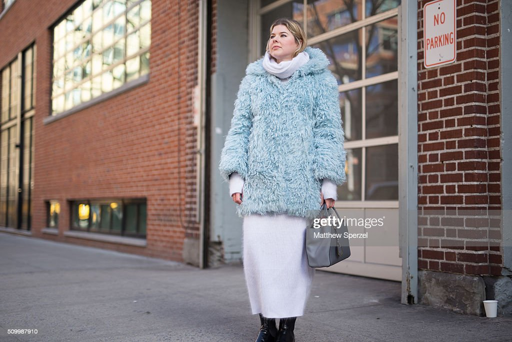 Tatiana Hambro is seen at Jill Stuart wearing a Philosophy jacket, Fendi bag, Aquascutum dress, and Church's boots during New York Fashion Week: Women's Fall/Winter 2016 on February 13, 2016 in New York City.