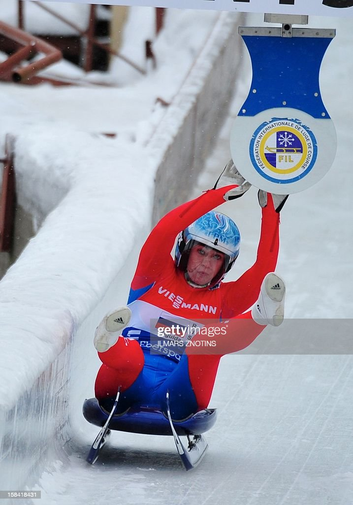 Tatiana Ivanova of Russia hits the target at the Luge World Cup team relay competition on December 16 , 2012 in Sigulda, Latvia, some 50 km northeast of Riga. Germany won team event ahead of Italy (2nd) and Russia (3rd).