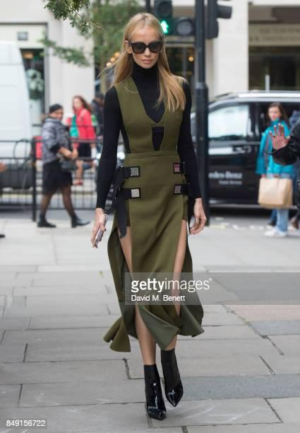 Tatiana Korsakova seen wearing a David Koma dressSaint Laiurent shoes and Celine sunglasses on Day 3 of London Fashion Week September 2017 on...