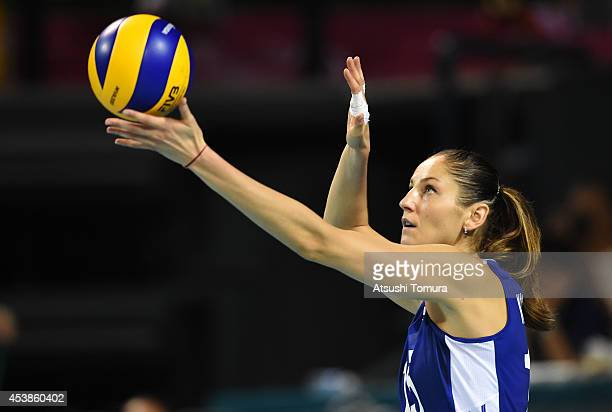 Tatiana Kosheleva of Russia serves the ball against Japan during the FIVB World Grand Prix Final Group 1 on August 20 2014 in Tokyo Japan