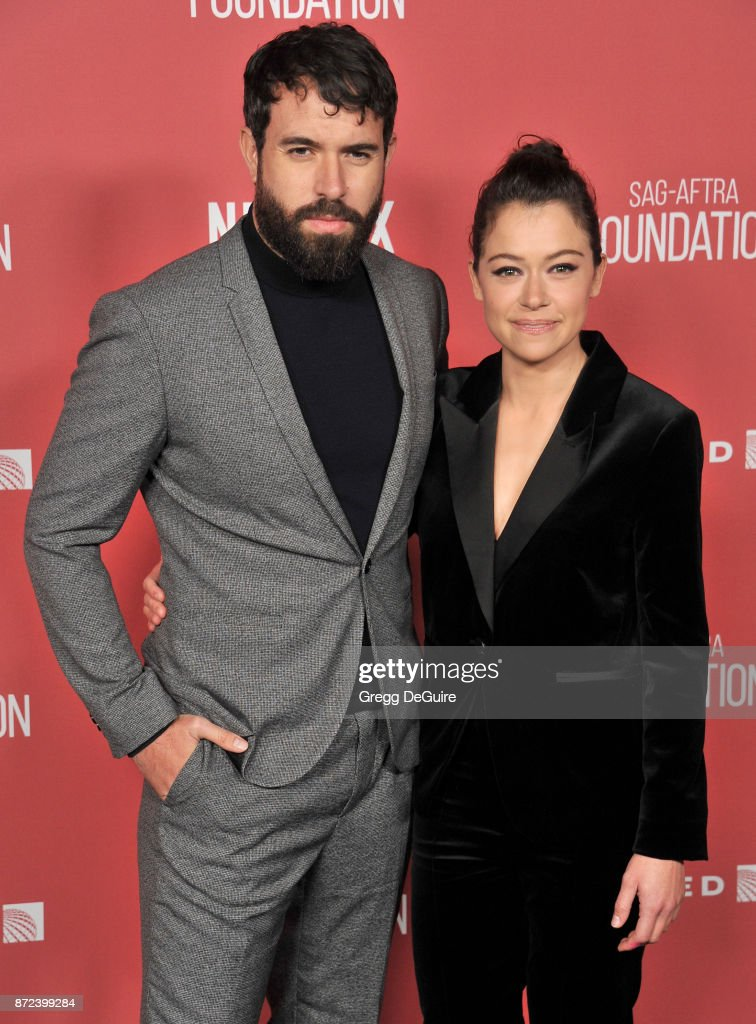 Tatiana Maslany and Tom Cullen arrive at the SAG-AFTRA Foundation Patron of the Artists Awards 2017 on November 9, 2017 in Beverly Hills, California.