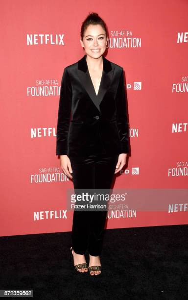 Tatiana Maslany attends SAGAFTRA Foundation Patron of the Artists Awards at the Wallis Annenberg Center for the Performing Arts 2017 on November 9...