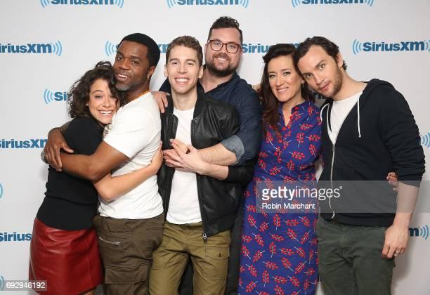 Tatiana Maslany Kevin Hanchard Jordan Gavaris Josh Vokey Maria Doyle Kennedy and Ari Millen visit at SiriusXM Studios on June 6 2017 in New York City