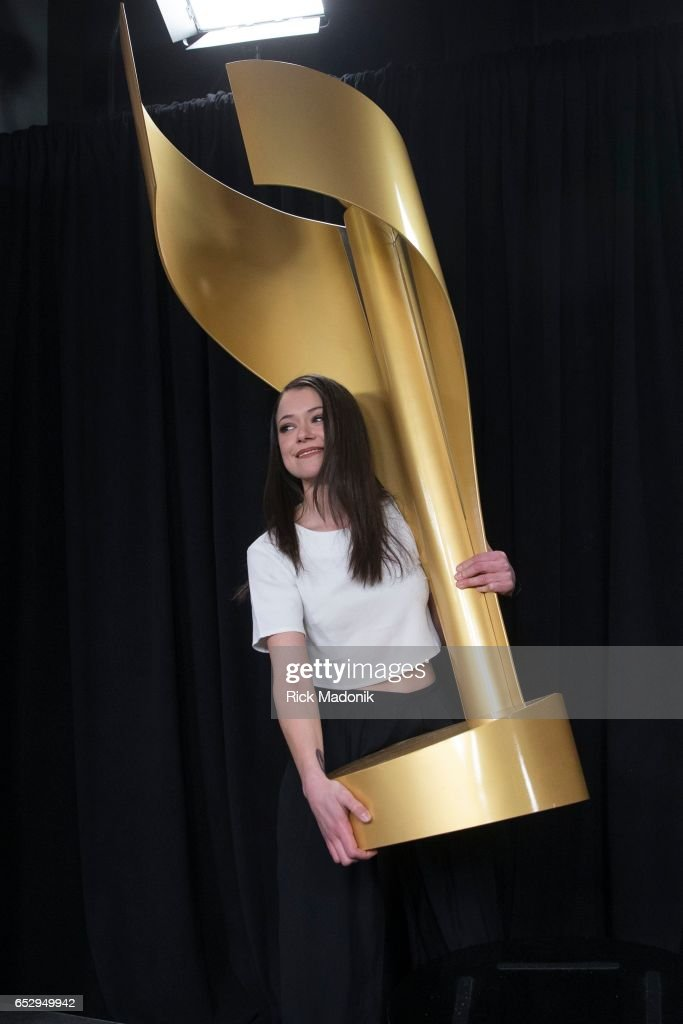 Tatiana Maslany picks up the prop on stage as she left her actual awards at her seat. They would appear before her presser was over. Canadian Screen Awards red carpet at Sony Centre for the Performing Arts ahead of the show.